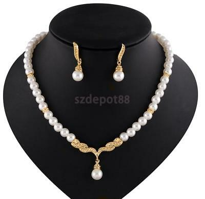 Bridal Prom Jewelery Set Pearl Rhinestone Crystal Wedding Necklace Earrings