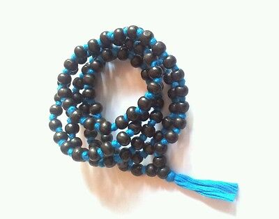 Black Beads Tulsi Japa Mala for Meditation 108 Bead Necklace Rosary Knotted Blue