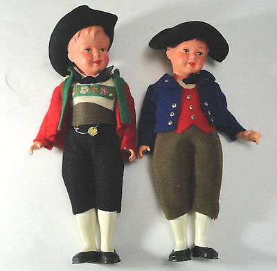 """Antique 2 Austrian Celluloid Dolls with AJ in Triangle Marks 20 8"""" tall"""