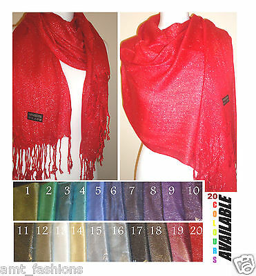 Plain Colour Shiny Shimmer Glitter Sparkly Scarf Hijab Shawl Wrap Wedding Bridal