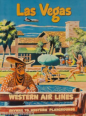 Las Vegas Nevada Cowboy United States America Travel Advertisement Poster