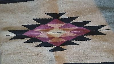 Zapotec Native Mexican Hand Woven Wool-Blend Traditional Rug 29 X  57 vintage
