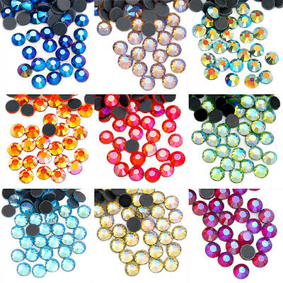 Color AB 1440pcs DMC Hot fix Crystal Rhinestones Iron On Flat Back Good Quality