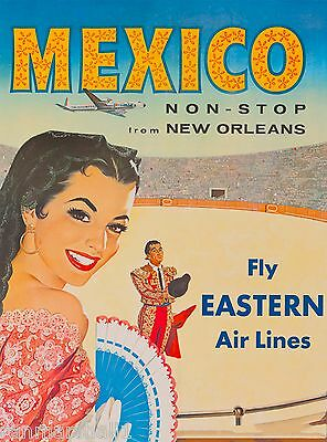 New Orleans to Mexico Beach by Air Mexican Travel Advertisement Art Poster