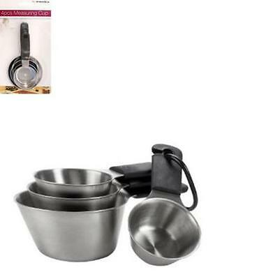 4Pc Stainless Steel Measuring Cup Set Kitchen Utensil Grip Scoop Baking Tool