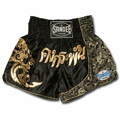 Sandee Unbreakable Muay Thai Fight Shorts Adults Kids - Black Gold Red Blue Pink