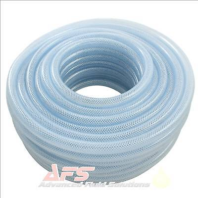 Reinforced CLEAR PVC Braided Hose Water Garden Flexible Plastic Air Tubing PS