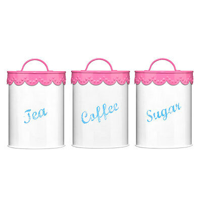 pink&white lace vintage look tea canister set-tea/coffee/sugar-quirky kitchen