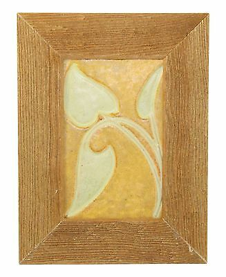 Owens Pottery Arts and Crafts Yellow and Tan Leaves Tile Framed