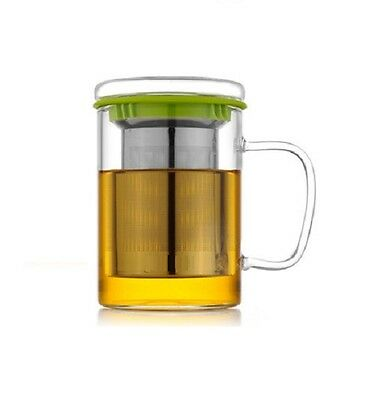 Glass Tea Mug With INFUSER | Stainless Steel STRAINER | Herbal | Loose Leaf