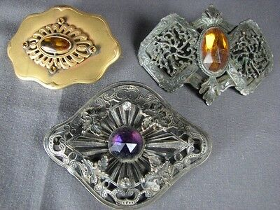 Lot 3 Antique Steampunk Vintage Pins Glass Old Faceted Cabochon Color Stones F&B
