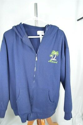 Maui Hawaii BaBa Cotton Poly Navy Blue Small Unisex Jacket Hoodie