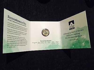 2014 Green $2 'C' Mintmark Coloured Uncirculated Coin – Remembrance Day Carded