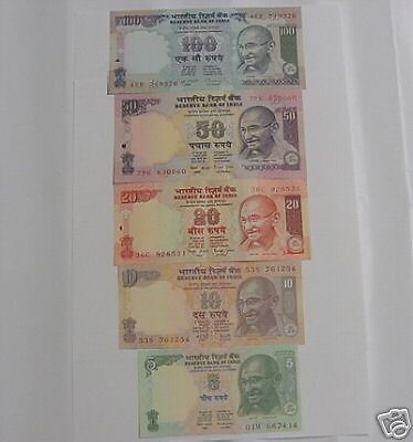 -  India Paper Money - 5 Currency Notes Of Mahatma Gandhi - Rs:100,50,20,10 & 5