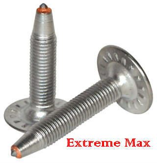 """48 qty.Extreme Max 1.40"""" Stainless Steel Snowmobile Studs,Nuts for 1.25"""" track"""