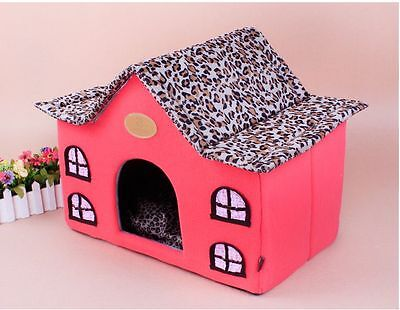 New Red/Blue Leopard Roof Pet Dog Cat Soft House Bed Cat Fade House Tent Size M
