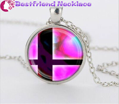 Super Smash Bros Ball Pink and Black Glass Dome Silver necklace Pendants#T15