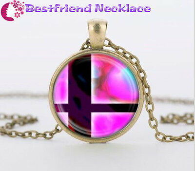 Super Smash Bros Ball Pink and Black Glass Dome Bronze necklace Pendants#T16