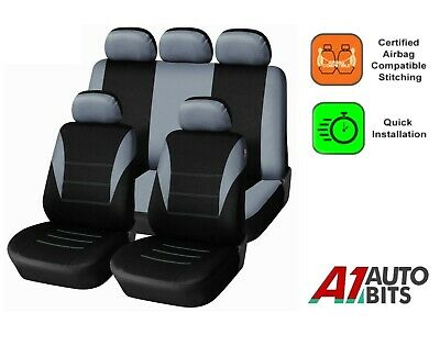 Full Seat Covers Set Protectors Grey Black For Skoda Fabia Octavia Roomster Yeti