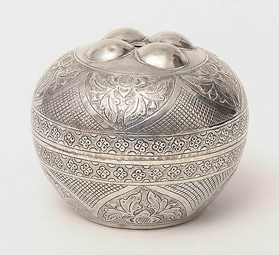 Antique Brunei SE Asian White Metal String Box with Traditional Decoration