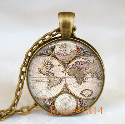 Vintage World map Cabochon Bronze Glass Chain Pendant Necklace #445