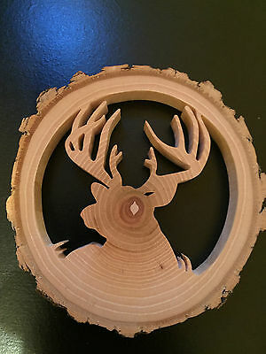 Reclaimed Tree Slice - Deer In Grass -  Christmas / Window / Wall Ornament