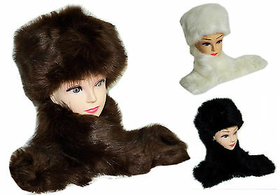 Russian Style Faux Fur Hat Cap Ear Warmer & Collar Scarf Neck Warmer Xmas Gift