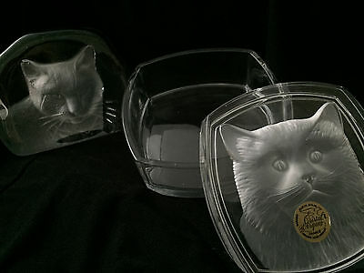 Cristal D Arques Crystal Cat Shadow Box From France Similar Standing One