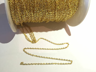 Tiny brass (gold) chain shiny closed soldered loops - 1.5mm x 2mm - 2 meters