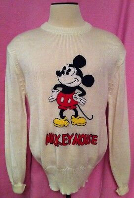 XL vintage 80s Mickey Mouse Character Fashions Sweater Applique 3D ivory knit