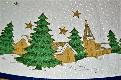 All Is Calm In The Blue Christmas Village! Vtg German Round Print Tablecloth