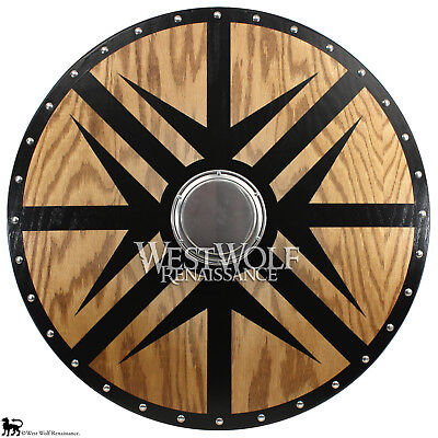 Viking Black Arrow Berserker Shield --- sca/larp/norse/medieval/armor/oak/wood