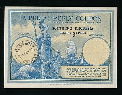 SOUTHERN RHODESIA IMPERIAL REPLY COUPON KG6 1972 JULIASDALE POSTMARK 3d IRC