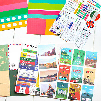 12 sheets travel notebook diary Scrapbooking paper  daily deco stamps stickers