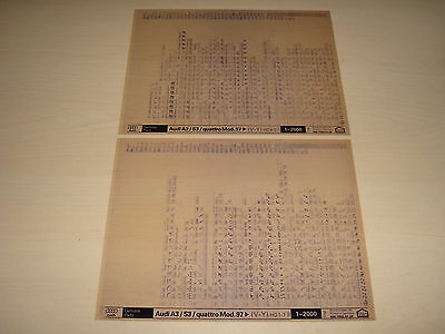 Audi A3, S3 & Quattro From Model Year 1997 Parts Microfiche Full Set Of 2 1/2000
