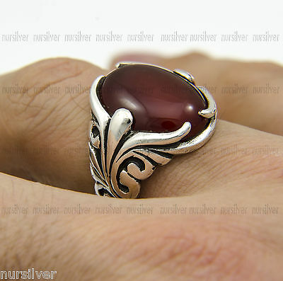 Hand made mens ring with Agate stone - Special design Silver ring 925