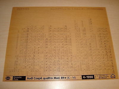 Audi Coupe Quattro From Model Year 1989 Parts Microfiche Full Set Of 1 - 4/1990