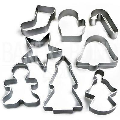 Christmas Set of 8 Metal Cookie Cutters Star Tree Bell Angel Candy Cane Biscuit
