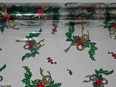 """1 Roll 20"""" x 100' Holly / Gold  Christmas Designs Clear Cellophane Gift Wrap"""