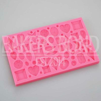 Multi Jewelled Diamond Shape Jewels and Gems Silicone Mould Vintage Topper Cake