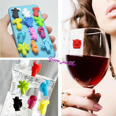 Hot Novelty Party People Drinking Glass ID Markers Suction Cup Wine Set of 12 YZ