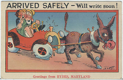 PZcm HYDES MD Arrived Safely 40s Comic Postcard near Bel Air Fallston PZcx