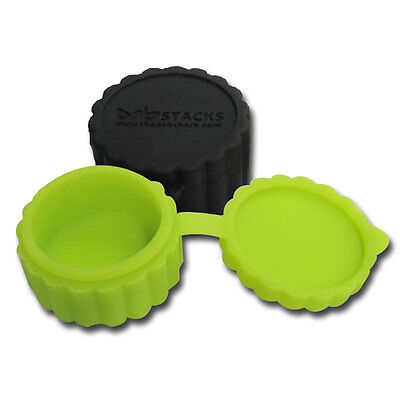 Set New Stacks Hinged Silicone Concentrate Container Non Stick Green Black