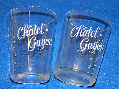 vintage LOT 2 VERRE CHATEL GUYON glas GLASS glas VMC REIMS cure thermale DOSEUR