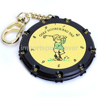 18 Holes Plastic Round Golf Score Counter Keeper Scoring Bag Tag w/ Keychain