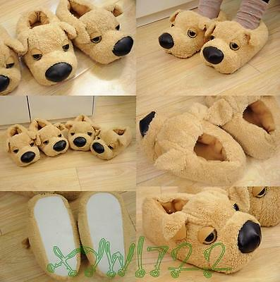 Cute Dog Women Men Couple Anti slip Slippers Indoor House Home Soft Warm Shoes