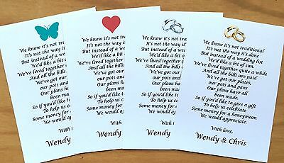 Wedding Honeymoon Money Request Poem Cards for Invitations Size: A7 (74x105mm)