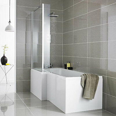 Left Right Hand L Shape Square Shower Bath Tub 1700 With Panel, Screen And Waste
