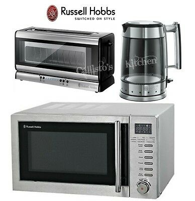 Russell Hobbs Glass Line Kettle and Toaster Set + RHM2031 Microwave with Grill