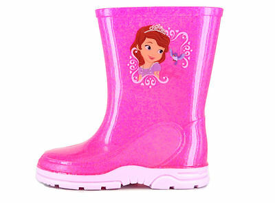 Girls Toddler Pink Glitter Sofia Princess Winter Wellies Shoes Boots Size 5-10